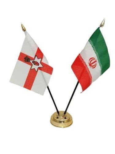 Iran with Northern Ireland Friendship Table Flag